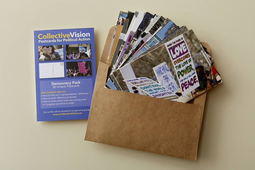 postcards for political action with stamps