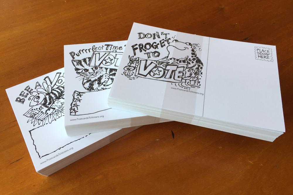 Animal pun voter postcards