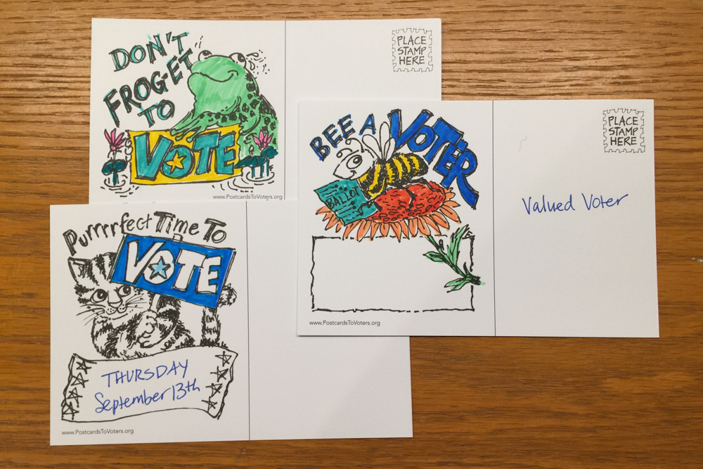 animal pun voter cards colored in